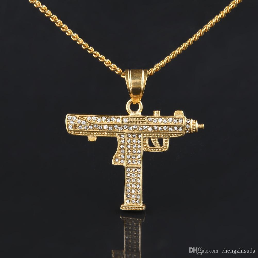Wholesale Hip Hop Gun Pendant Necklace 18k Gold Silver