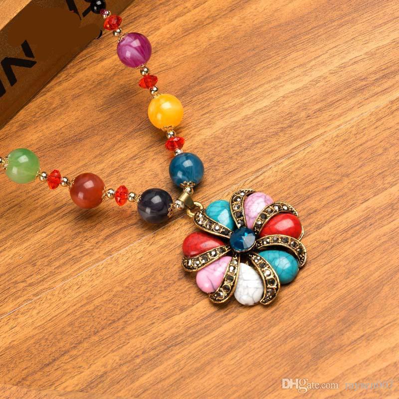 Moda 26 estilos suéter cadena larga collar bohemio suéter cadenas collar para mujer elegante collar de flores colgante de joyería al por mayor