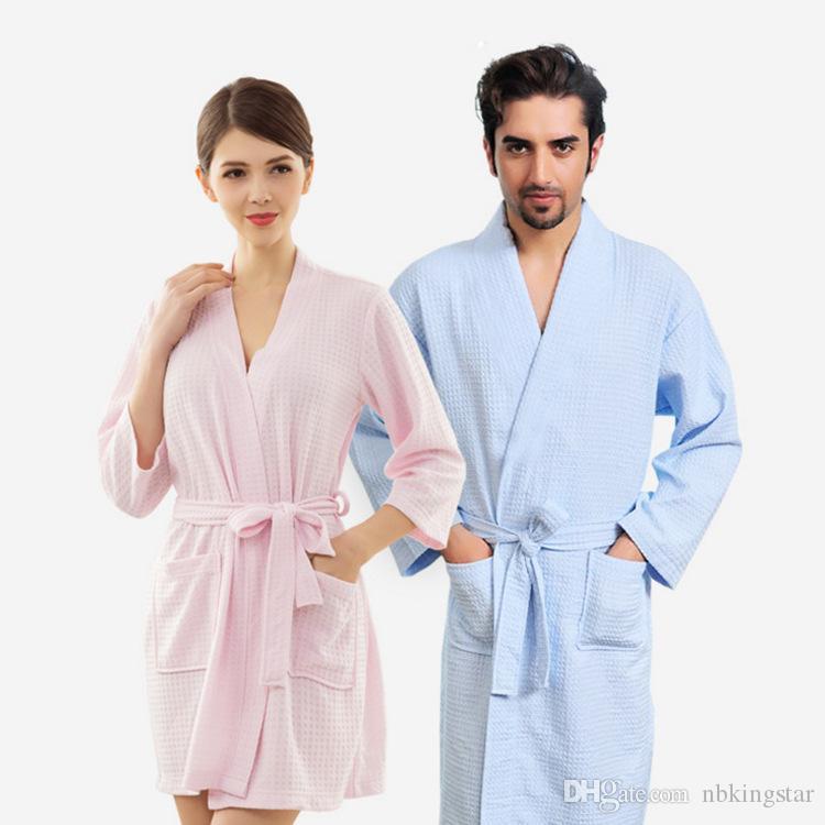 2019 Towel Bath Robe Dressing Gown For Women Men Sleeve Solid Cotton Waffle  Bathrobe Peignoir Nightgowns Robes Sleepwear From Nbkingstar 3bc0d2044