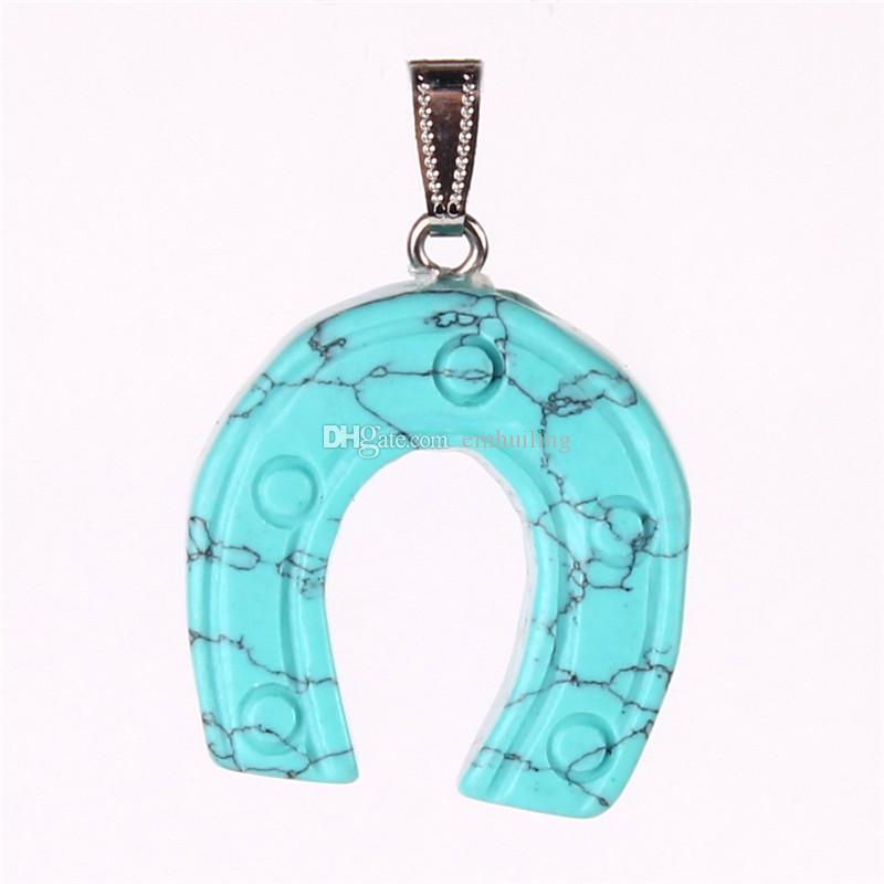 Horseshoe Natural Stone Horse's Hoof Pendants Mixed Lucky Jewelry Colroful Stones Charms Pendulum for Jewelry Making
