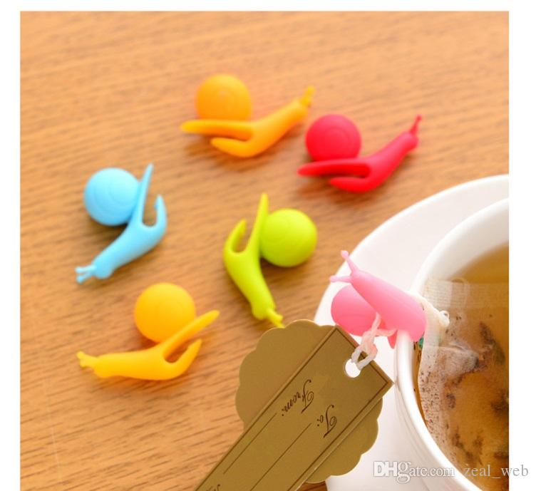 Più economico carino colorfil silicone vino vetro lumache etichette silicone tè tazza tazza marcatori impostato bere etichette occhiali marcatore spedizione gratuita 7