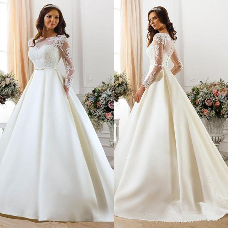 Simple Elegant Wedding Dresses With Sleeves: Discount Elegant Simple Long Sleeve Lace Wedding Dresses