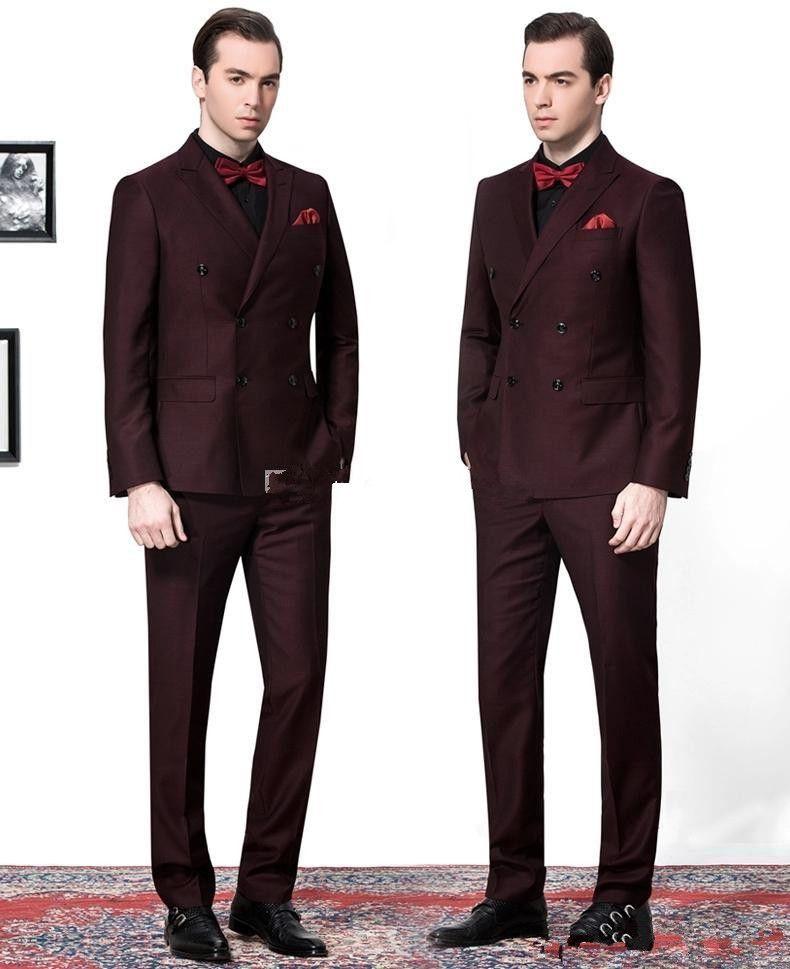 Yan Vent Kruvaze Bordo Damat Smokin Tepe Yaka Groomsmen Mens Düğün Takımları Giyim Balo Suits Ceket + Pantolon + Kravat AA1120