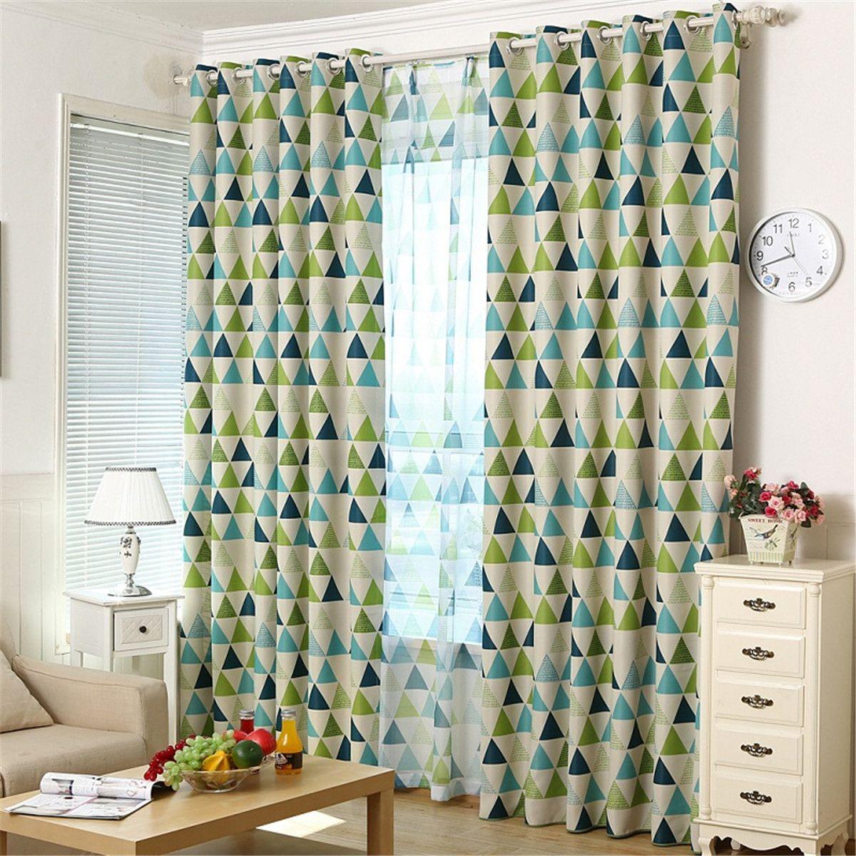 Green geometric curtains - Ivolador Geometric Triangles Pattern Curtain Blackout Curtains Shade Cloth Sun Insulation 100 250cm Green