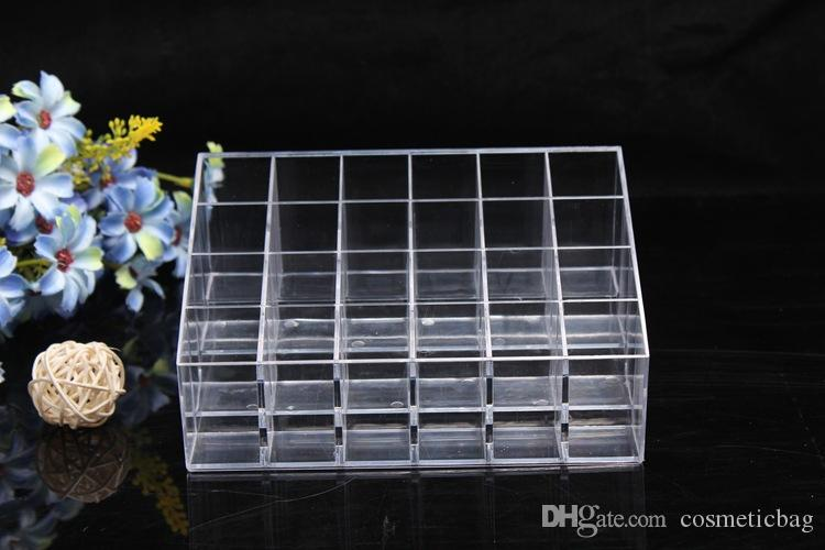 24 Batom Titular Display Stand Acrílico Cosméticos Sacos de Organizador de Maquiagem Caso Diversos Organizador de maquiagem organizador de Armazenamento de Exibição Caixa # 004