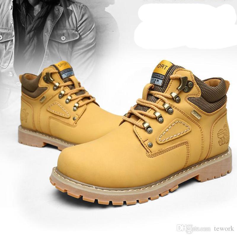 Fashion Men's Winter Leather Men Waterproof Rubber Snow Boots Leisure Boots England Retro Shoes For Men