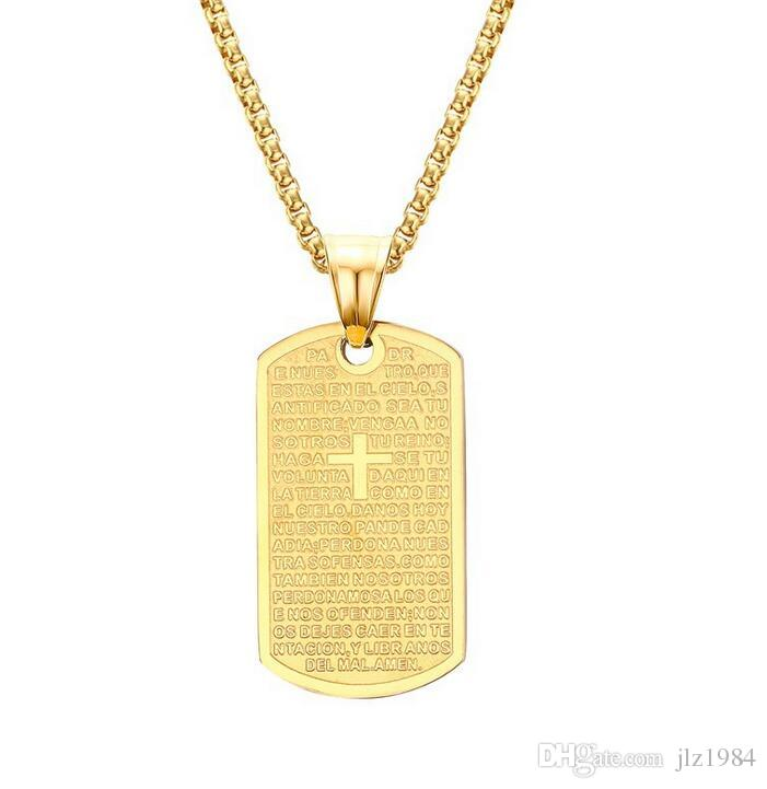 Wholesale Vintage Religious Jewelry Men Gold Cross Necklace With
