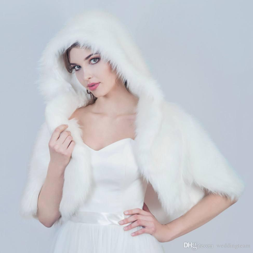 Günstige Warm Pelz Hochzeit Schals Mit Kapuze Braut Bolero Custom Made Hochzeit Wraps Shrugs Für Kleid Kurzarm Cape