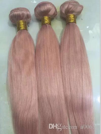 Queen Hair Weave Bundles Extensiones de Cabello Sólido Rosa Ombre Brasileño Recto ombre color Cabello Humano