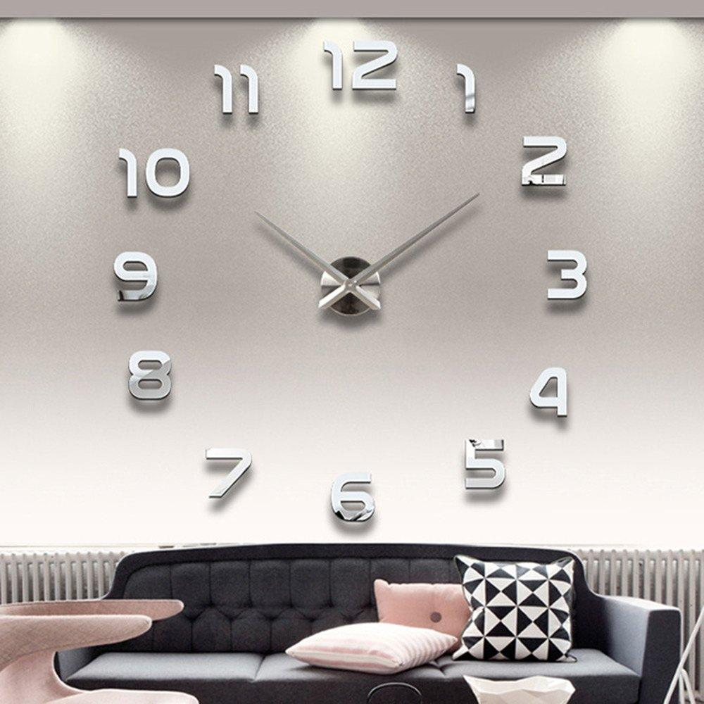 Wholesale Home Decoration Big Number Mirror Wall Clock Modern Design Large Designer 3d Watch Unique Gifts 1611371 Round