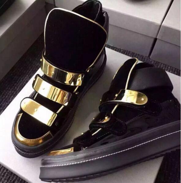 2017 новый мужской обуви бренд стиль высокий топ кроссовки металл блесток мужчины партия обуви синий замши кроссовки толстый каблук мужской повседневная обувь