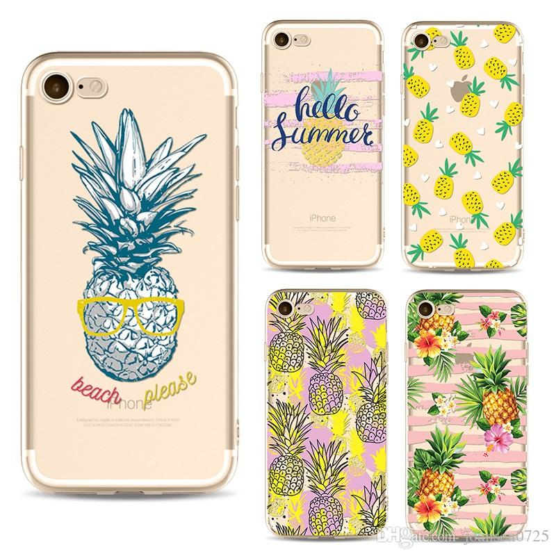 Soft TPU Pineapple Painted Phone Case For Iphone X 6 6S 7 8 Plus 5S Xs Max  Xr Samsung Galaxy S7 Edge S8 S9 Plus Note 8 9 Silicone Back Cover Cell ... 407cef4bd67ba