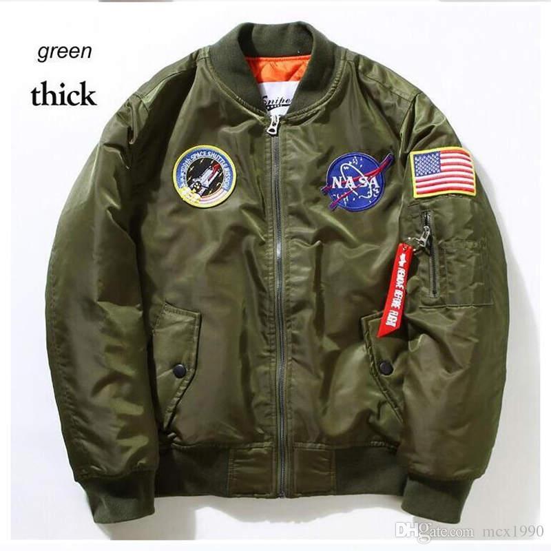 NASA Mens MA1 Bomber Jacket Insignia USAF Kanye West Хип-хоп Спорт Мужской ветровка куртка Flag Мужская весна Тонкий Толстые раздел Jacket