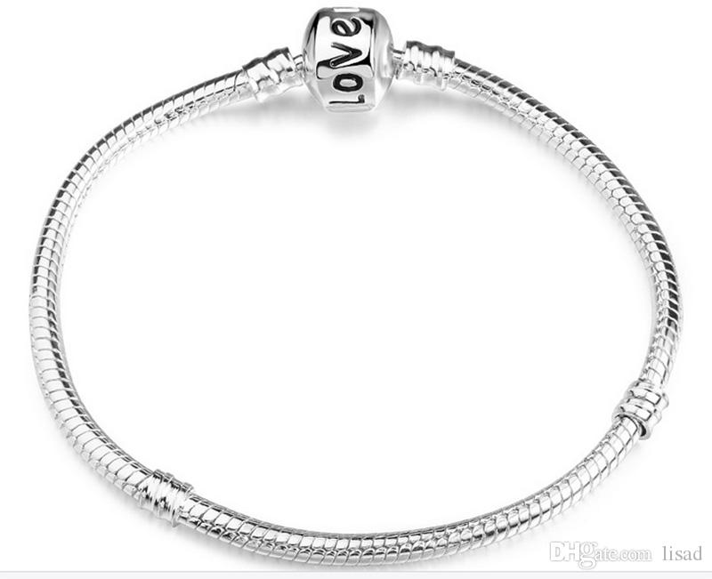 925 silver store,17-23cm silver plated bracelet with logo,plated charms bracelet chain