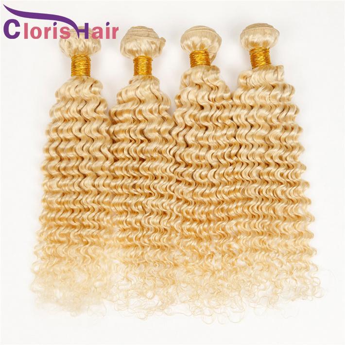 Color 613 Rizado Brasileño Virginal Tejido del cabello Bleach Blonde de onda profunda Brazillian Extensiones de cabello humano Rizos profundos 3 paquetes Ofertas