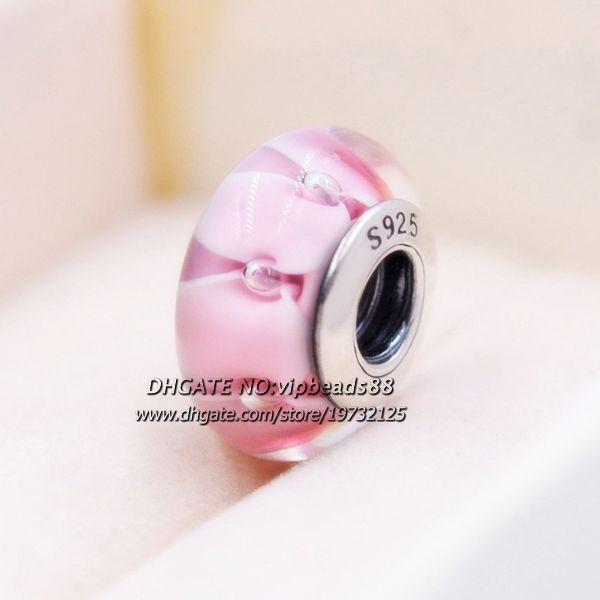 S925 Sterling Silber Rosa wassertropfen modeschmuck Murano Glas charms Fit Europäischen Pandora DIY Armbänder 197