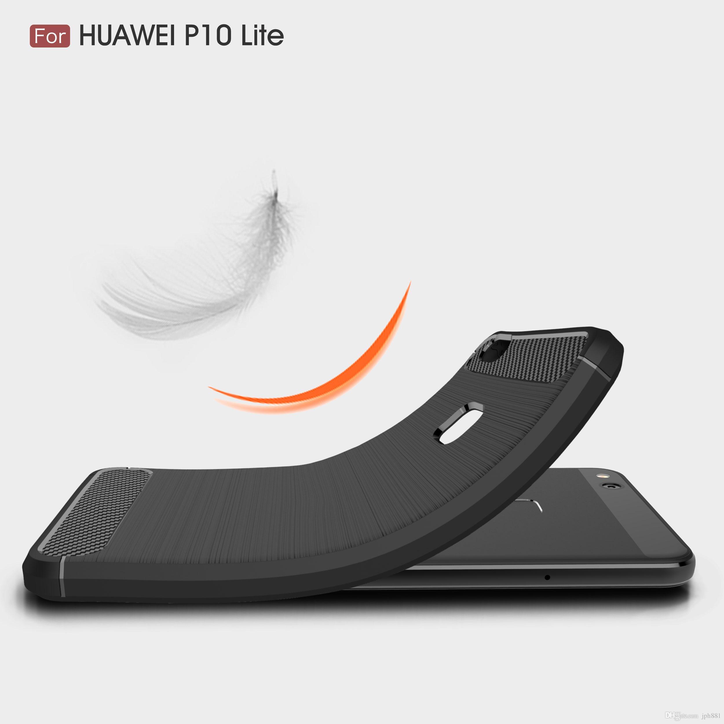 Custodia in fibra di carbonio P10 Lite NOVA 2 P8 Lite P9 Lite Scopri 7 Plus Y3 Y5 2017 Custodia morbida in TPU spazzolato iPhone