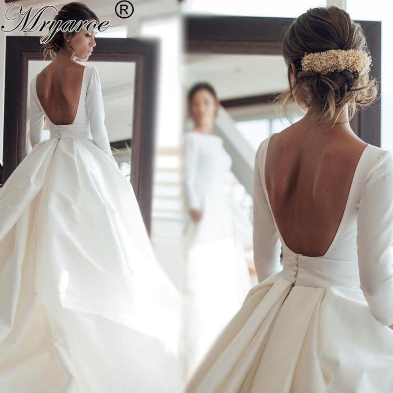 Discount Simple Elegant Open Back Long Sleeve Wedding Dress ...