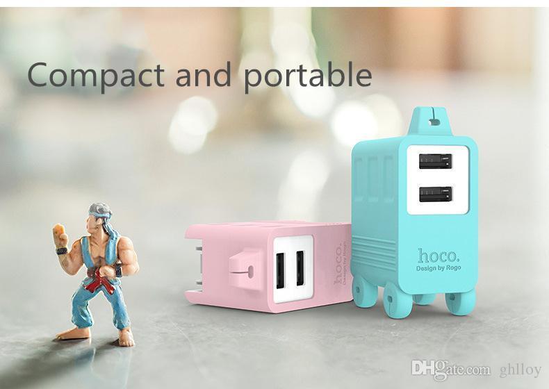 HOCO C6A 와인 더 충전기 빠른 충전 2.1A 듀얼 USB 벽 충전기 미국 플러그 여행 어댑터 아이폰 iPad 삼성 전자 LG 전자