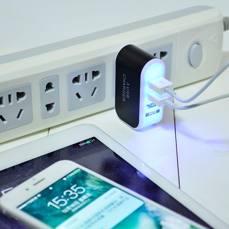 US EU Plug 3 portas USB carregador de parede 5V 3.1A Adaptador de LED viagem cómoda Power Adapter com portas USB triplo para a samsung