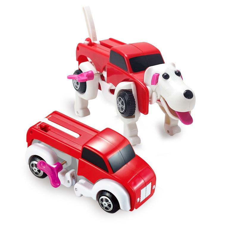 2017 14cm cool automatic transform dog car vehicle clockwork wind up toy for children kids toy gift from love6love 1094 dhgatecom