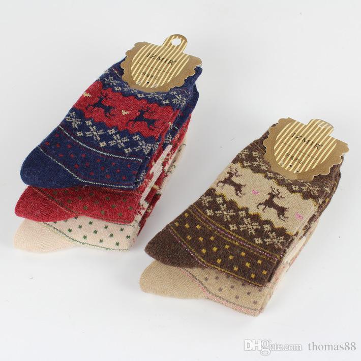 Calzini comodi 5 di inverno caldo-freddo sveglio di inverno delle donne di disegno dei cervi del fiocco di neve del commercio all'ingrosso-Trasporto libero