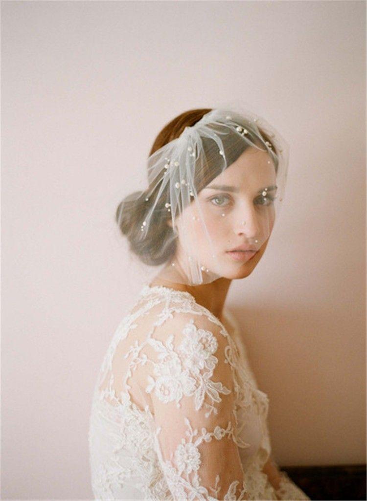 Elegant Tulle Feather Imitation Pearls Bridal Hats Face Veil Fascinators Headpiece Party Hat Birdcage Veil Wedding Accessories