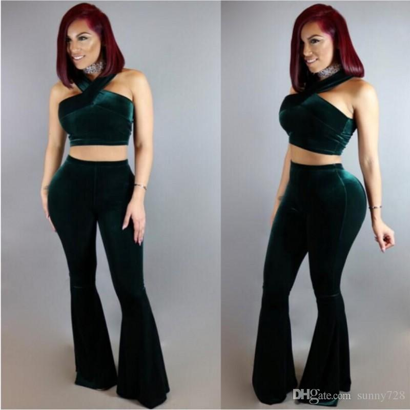 6119270b2d8 2019 New Dark Green Velvet Women Top And Pants Suits Two Pieces Halter Neck  Sleeveless High Waist Lady Clothing Sets From Sunny728