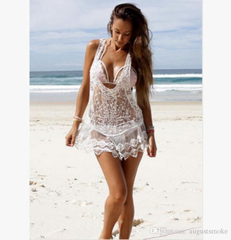 Compre Crochet Suéter Falda Blusa Beach Bikinis Cubierta A Cielo Abierto  Encaje Tejido De Punto De Ropa De Protección Vestido De Playa A  5.22 Del  ... bb83ae3deea5