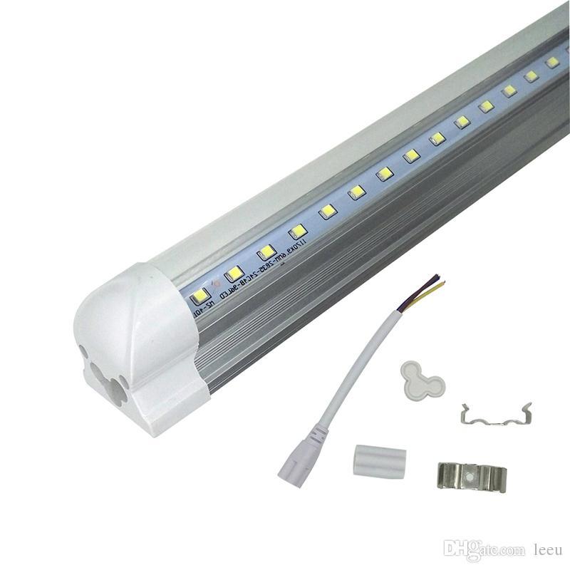 Em forma de V T8 4 pés 5 pés 6 pés 8 pés refrigerador Porta levou tubo LED integrado Tubos lados dobro SMD2835 Led Fluorescente Luzes AC85-265V