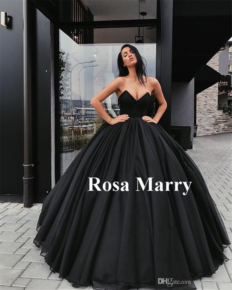 Cheap Wedding Gowns.Gothic Black Ball Gown Wedding Dresses 2020 Sweetheart Corset Back Red Tulle Arabic Dubai Masquerade Vestido De Novia Bridal Gowns Cheap