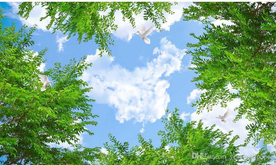 New Custom 3D Schöne Karte Wolke HD blauer Himmel Zenit Wandbilder 3D Deckenmalereien Tapete