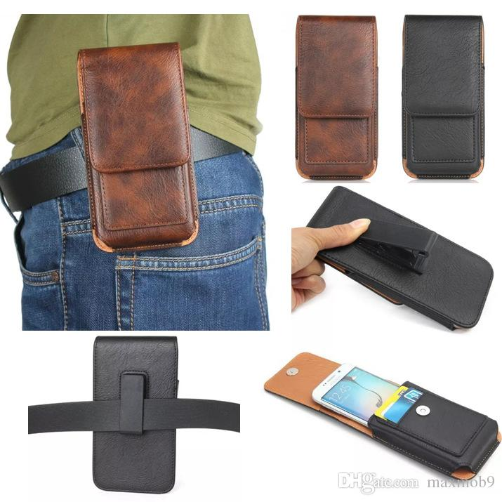 Luxury Universal Holster Belt Clip Waist Man Flip Leather case Cover pouch Bag cell Phone Case For iPhone 6S 7 8 X Plus Samsung S8 S9 plus