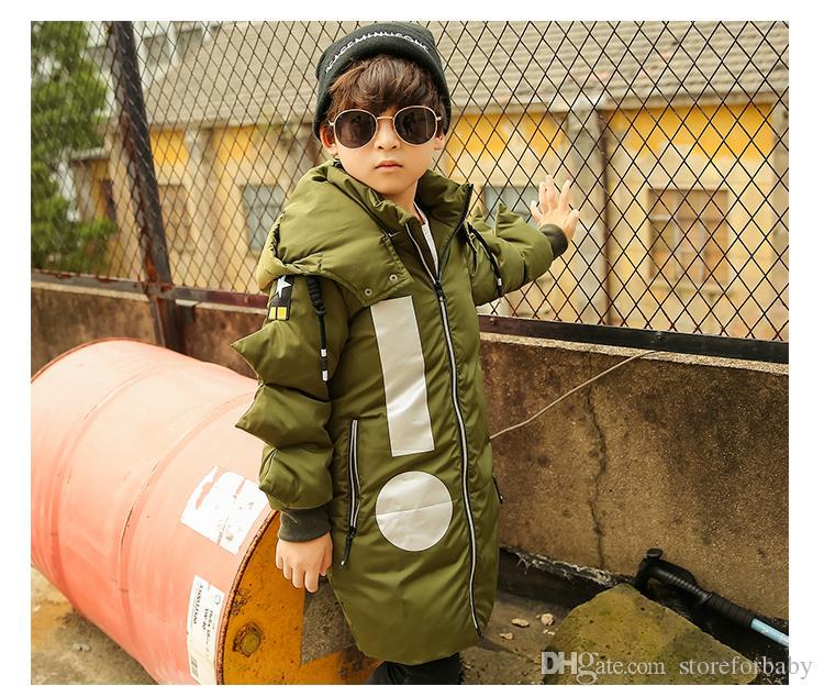 Crianças menino moda parkas mangas irregulares de algodão acolchoado para baixo casaco de inverno roupas quentes de alta qualidade crianças outwear roupas barato por atacado