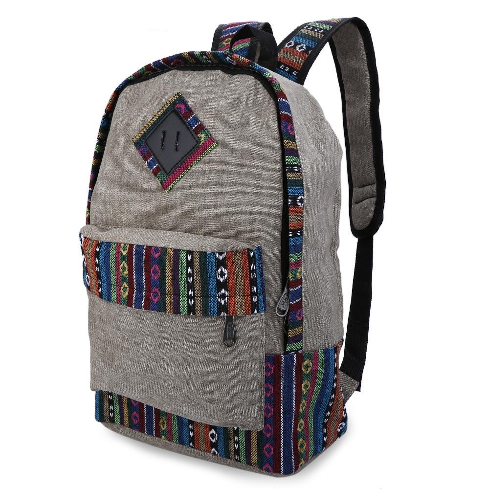 Wholesale- Durable Ethnic Canvas Zipper Bag Girl Casual Floral Print Color Block Women Canvas Backpack for Travel School Laptop