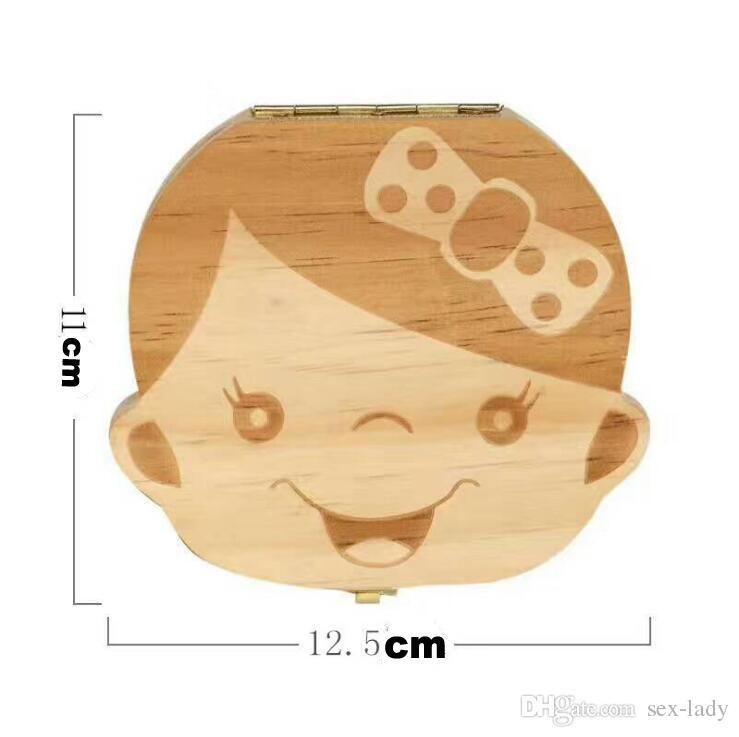 New Baby Wood Tooth Box Organizer Save Milk Teeth Wood Storage Collecting Teeth Gifts Umbilical Cord Lanugo For Boy Girl ..
