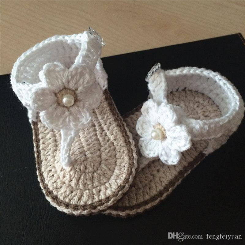 c3a2612e2 Compre Bebé Niña Crochet Zapatos Flor Vestido Blanco Mary Jane Zapatos Hilo  De Algodón 0 12M A $20.31 Del Fengfeiyuan | DHgate.Com