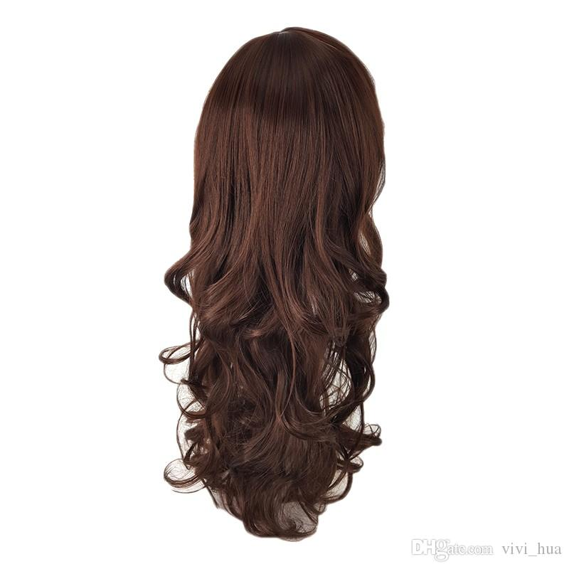 Natural Long Brown Wavy Wig With Black And White Women Lolita Synthesis Virgin Female Headgeaar Lifelike Frivolous Pure Manual Natural Hair