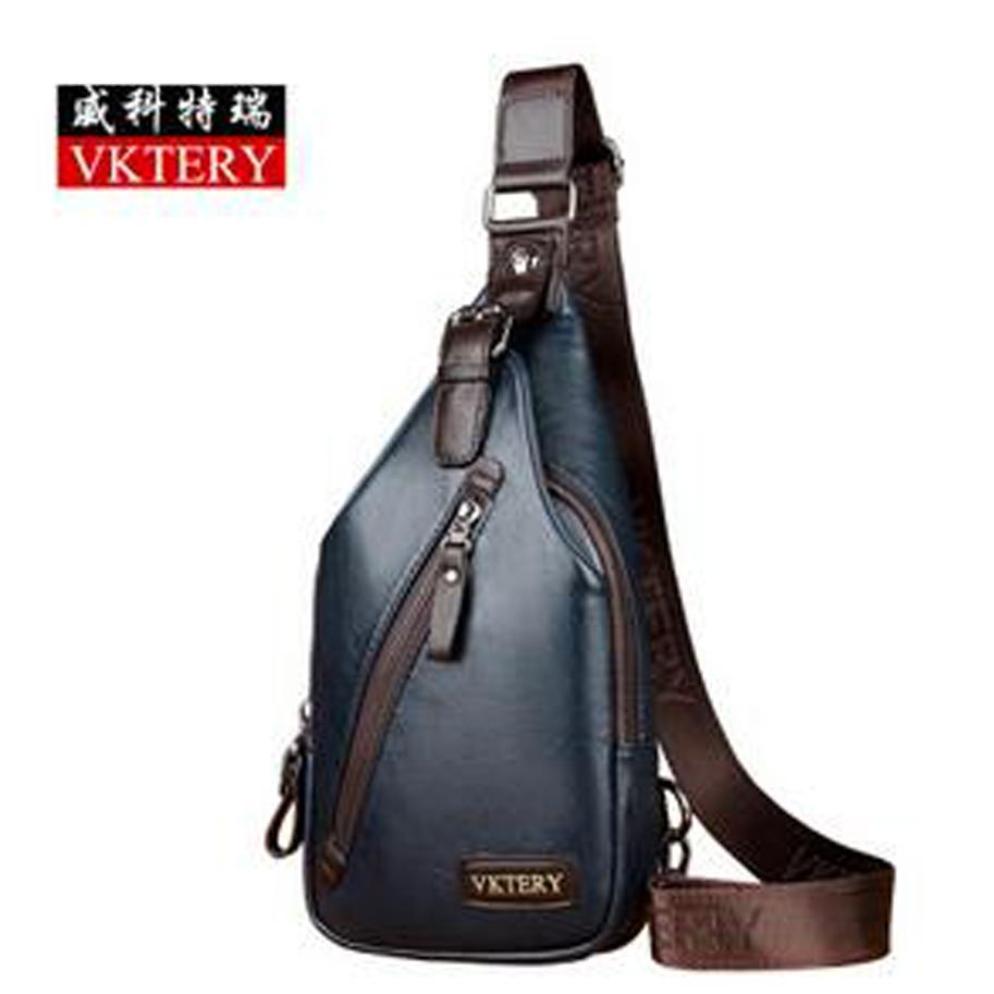 0831e62ba694 Wholesale- VKTERYFamous Brand Theftproof Magnetic Button Open Leather Mens  Chest Bags Fashion Travel Crossbody Bag Man Messenger Bag