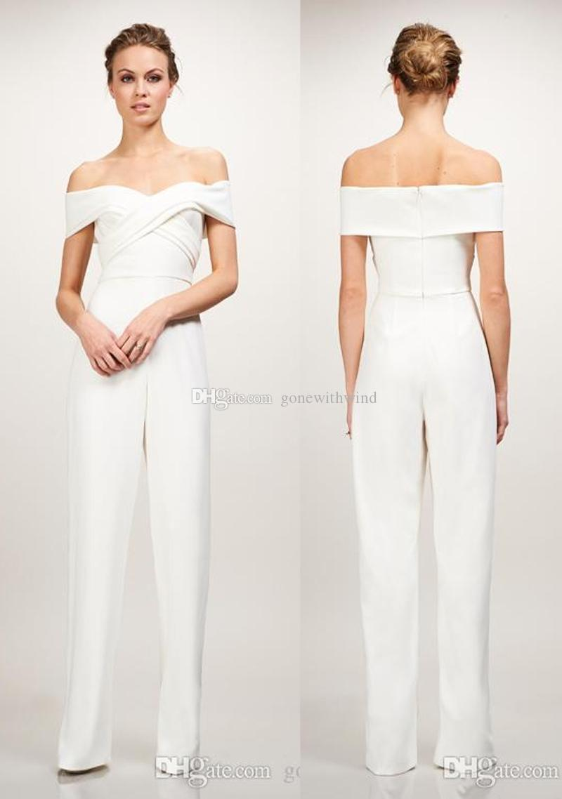 Off the shoulder strapless sweetheart neckline stretch crepe off the shoulder strapless sweetheart neckline stretch crepe jumpsuit wedding dresses 2018 with criss cross draped bodice modest wedding gowns off the rack ombrellifo Gallery