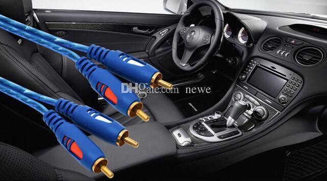 Popular AV Cable 2RCA a 2RCA Cable chapado en oro 3.5 Jack Audio RCA Cables Auricular AUXJack Splitter para equipo Altavoz