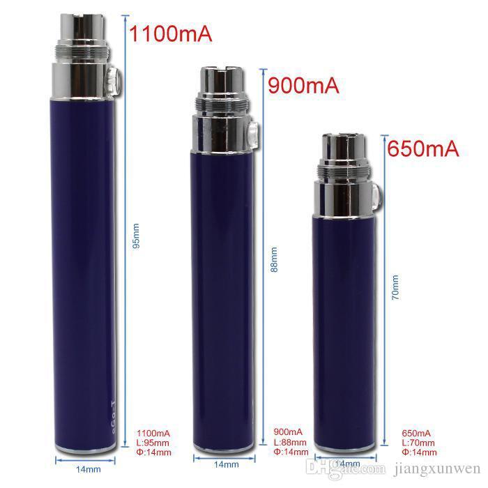 Ego t Pil E Sigara Piller 650 900 1100mah maç CE4 CE5 Atomizer clearomizer 510 iplik pil vs Evod X6 Vision Spinner pil