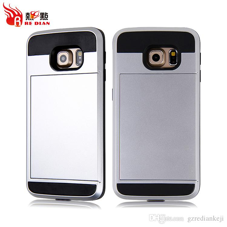 For Samsung S6 Edge Card Slot Cases Samsung S3 S4 S5 S6 Armor hard back with Wallet Case
