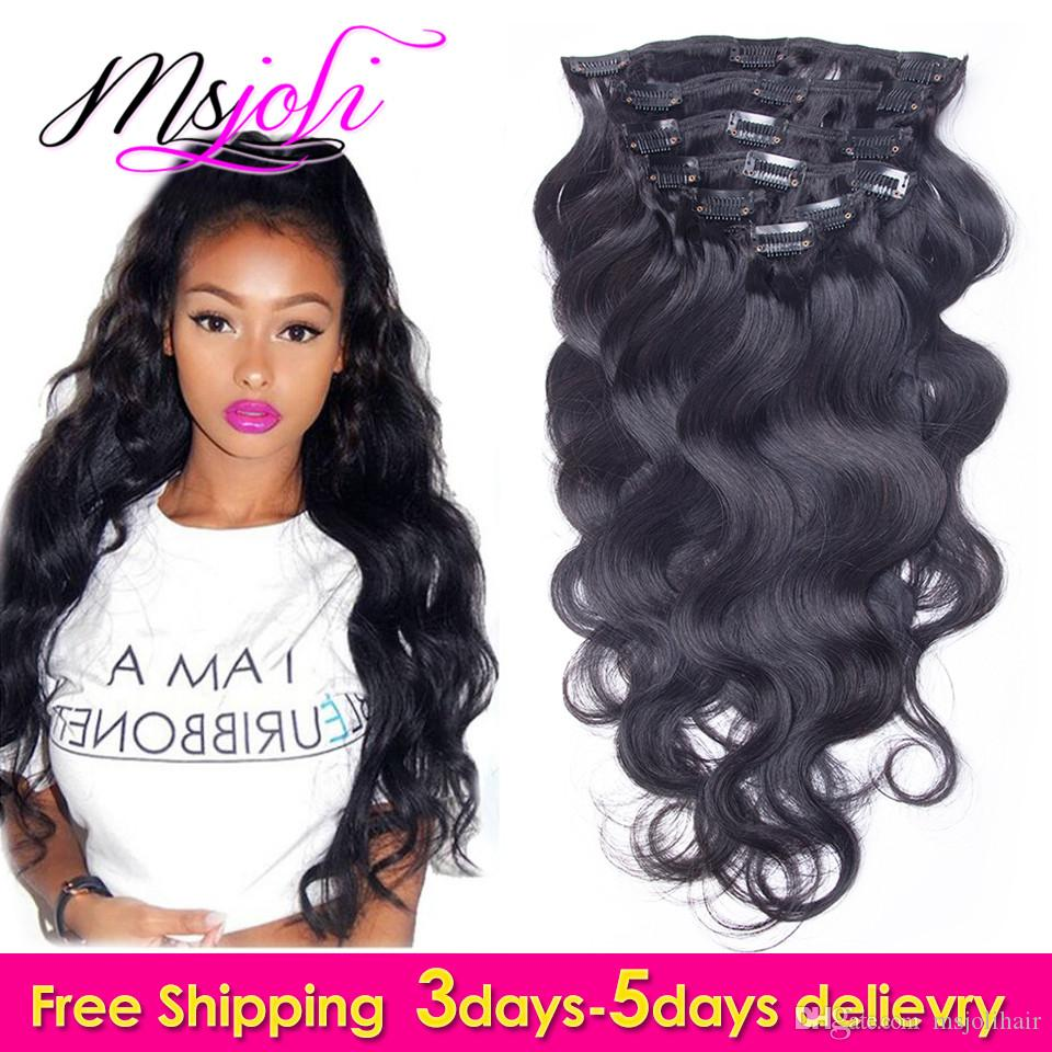 9a Indian Virgin Human Hair Full Head Clip In Extension Body Wave 12