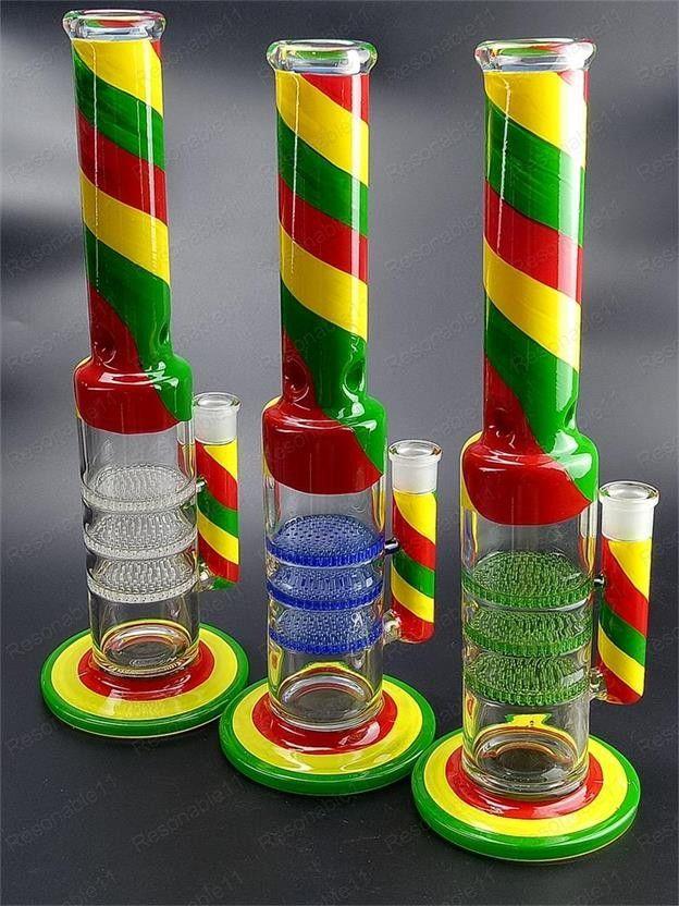 39 cm Cam Bong Sigara Boru Su Boru Yağı Burner Bubblers Dab Rig Recycler Colorfull Boyama Cam Kase 18mm