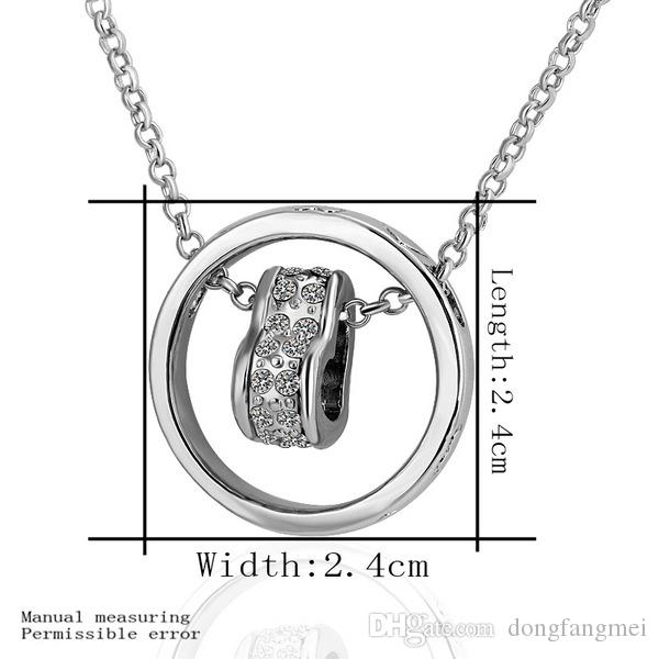 Fashion design White Gold white crystal jewelry Necklace for women DGN462,Hanging peach heart 18K gold gem Pendant Necklaces with chains