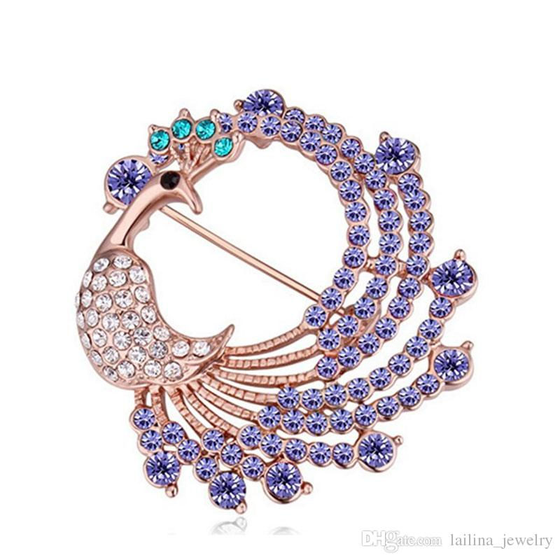 Peacock Brooch Pin Purple/rose/blue Crystal Gold Plated Dress Accessories Gift