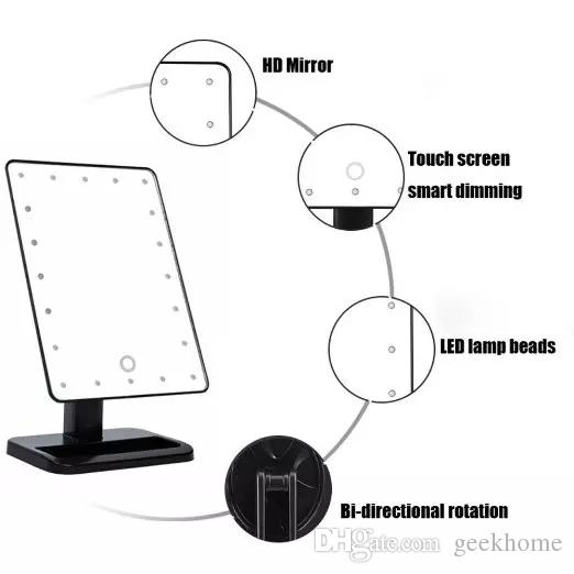 fashion new LED Make Up Mirror Cosmetic Desktop Portable 20 LED lights Lighted Travel Makeup Mirror for Lady Black and White fast shipping