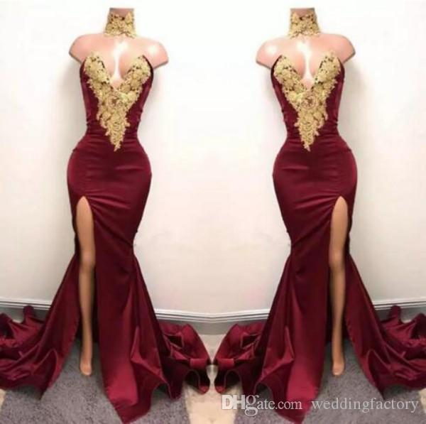 Sexy Borgonha Sereia Alta Dividir Vestidos de Baile Apliques de Renda De Ouro de Alta Neck Prom Vestido Vestidos de Festa Africano