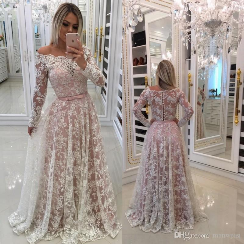 d88ead18ac Off The Shoulder Long Sleeve Prom Dresses Blush Pink Full Lace Appliqued A  Line Formal Evening Gowns Evening Long Dresses Uk Evening Maxi Dresses  Online ...